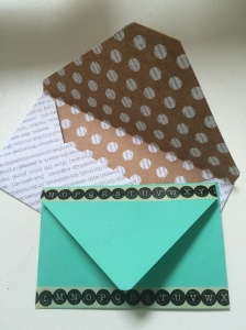 I made these! The green one printer paper embellished with washi tape. The other is double-sided scrapbooking paper.