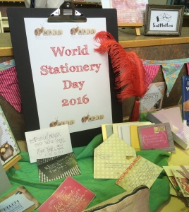 Students feasted from a smorgasbord of stationery delights. The green and white envelope (centre) was made on the day.